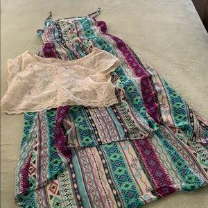 Xhiliration dress girls 10-12 chiffon shrug EUC